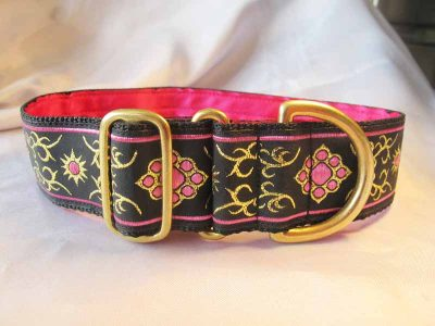"Bella Pink And Gold 1.5"" Satin Lined House Collar"