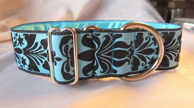 "Blue Fleur 1.5"" Satin Lined House Collar"
