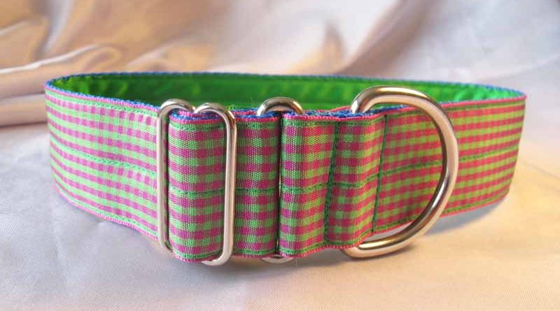 "Pink And Green Plaid 1.5"" Satin Lined House Collar"