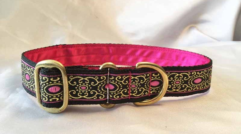 "Pink Jewel 1"" Satin Lined House Collar"