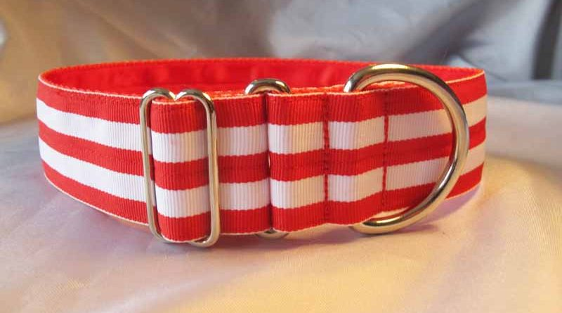 "Maggie Red And White 1.5"" satin Lined House Collar"