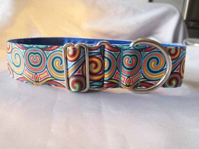 "Swirl Blue 1.5"" Satin Lined House Collar"
