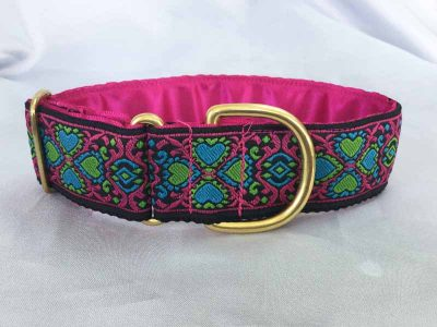 "Flo Pink And Blue 1.5"" Satin Lined House Collar"