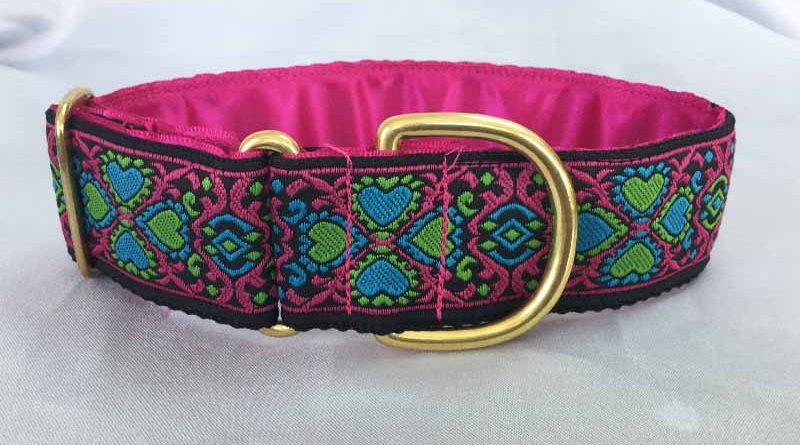 Flo Pink And Blue 1.5″ Satin Lined House Collar