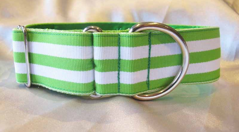 "Maggie Green And White 1.5"" Satin Lined House Collar"