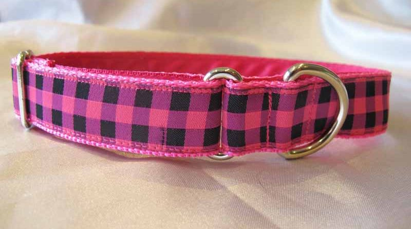 "1"" Satin Lined Pink And Black Check House Collar"