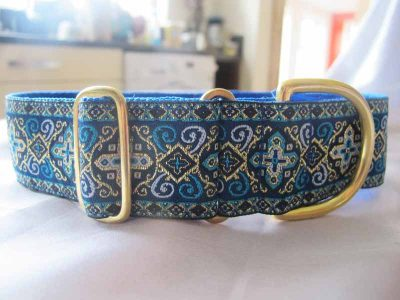 "Peek A Blue 1.5"" Satin Lined House Collar"