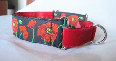Poppies Black 1.5″ Satin Lined Martingale Collar
