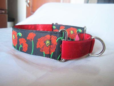 "Poppies Black 1.5"" Satin Lined Martingale Collar with rich velvet front"