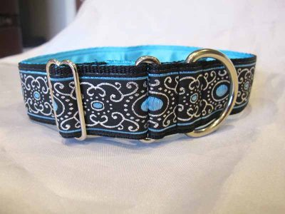 "Blue Jewel 1.5"" Satin Lined House Collar"