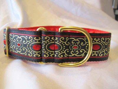 """Jewel Red 1.5"""" Satin Lined House Collar"""