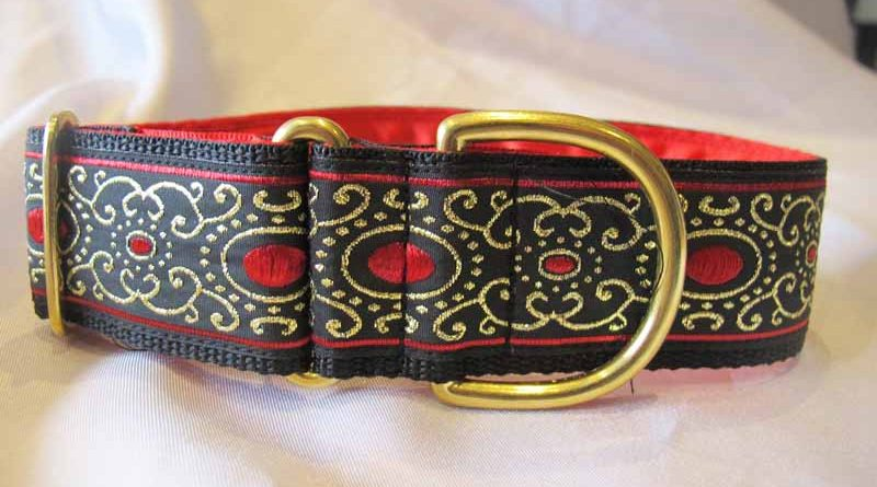 "Jewel Red 1.5"" Satin Lined House Collar"