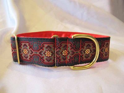 "Skye Red/Black 1.5"" Satin Lined House Collar"
