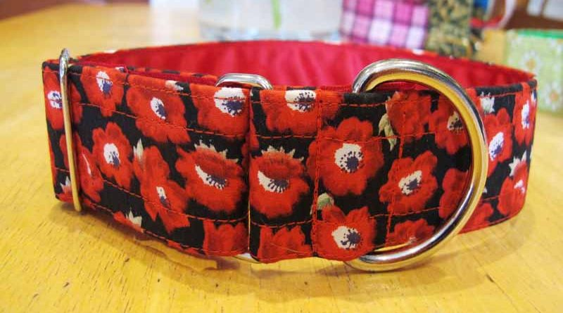 "Red Pops 1.5"" Satin Lined Soft Cotton House Collar"