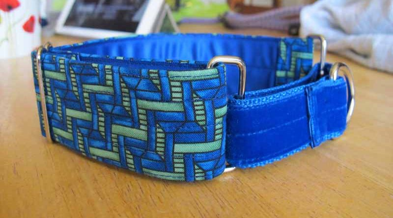 Green And Black1.5″ Satin Lined Cotton Martingale Collar