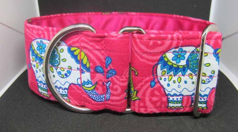 Pink Elephant In The Room 2″ Satin Lined Soft Cotton House Collar