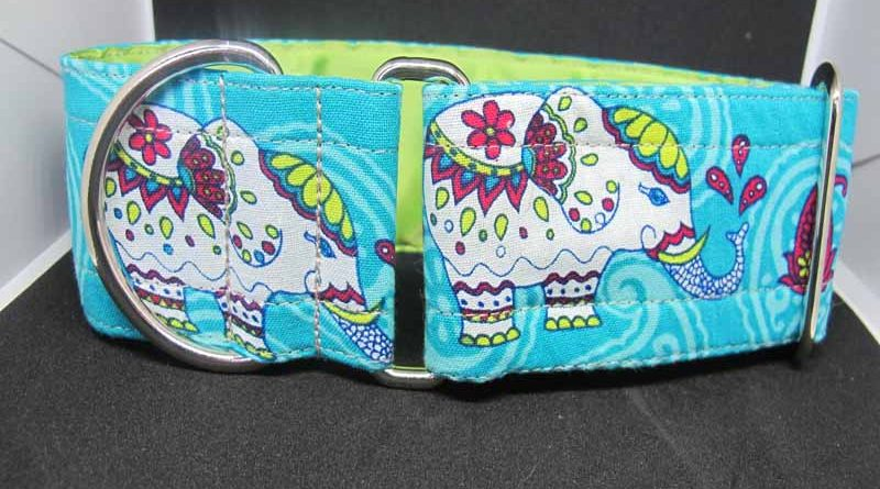 Turquoise Elephant In The Room 2″ Satin Lined Soft Cotton House Collar