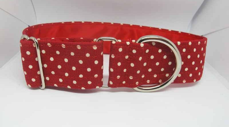 Red Dotty About You Satin Lined Soft Cotton House Collar