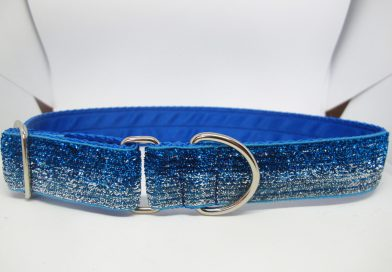 1″ Tinkerbell Blue And Silver Satin Lined House Collar