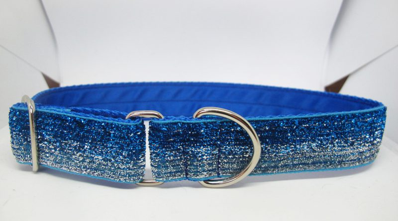 "1"" Tinkerbell Blue And Silver Satin Lined House Collar"