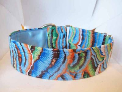 Satin Lined Blue Fungi Cotton House Collar