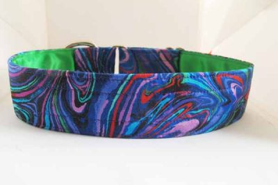Swirly Green Satin Lined Cotton Collar