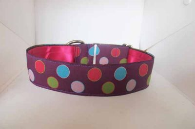 Dotty Purple Satin Lined Cotton Collar