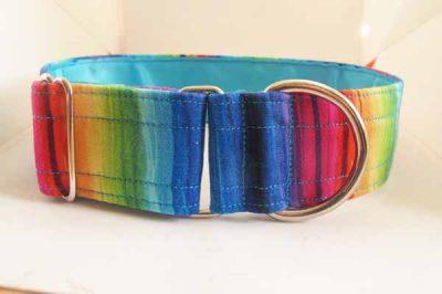 Rainbow Blue Satin Lined Cotton Collar