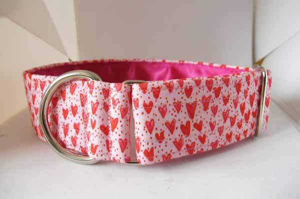 Pink Satin Lined Heart Cotton House Collar