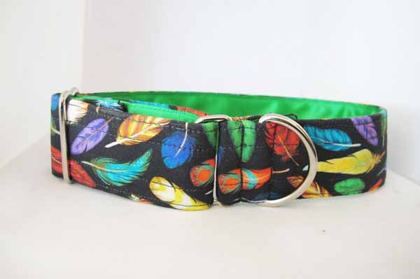 Green Satin Lined Black Feather Cotton House Collar
