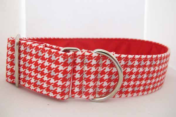 Red Satin Lined Red Dog Tooth Cotton House Collar
