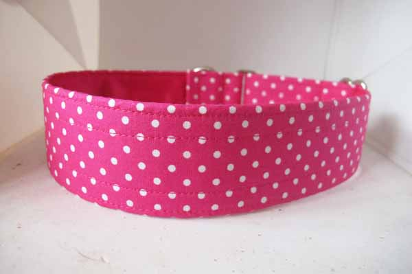Pink Satin Lined Dotty Cotton House Collar