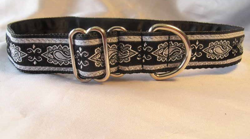 "Chloe Black And Silver Satin Lined 1"" House Collar"