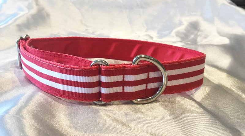 "Maggie Red And White 1"" Satin Lined House Collar"