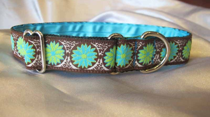 "Green/Blue Gabby 1"" Satin Lined House Collar"