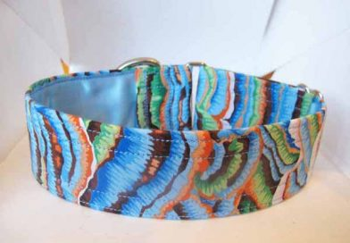 Blue Fungi Satin Lined Cotton House Collar