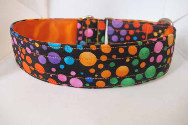 "1.5"" Satin Lined Orange Bubbles Cotton House Collar"