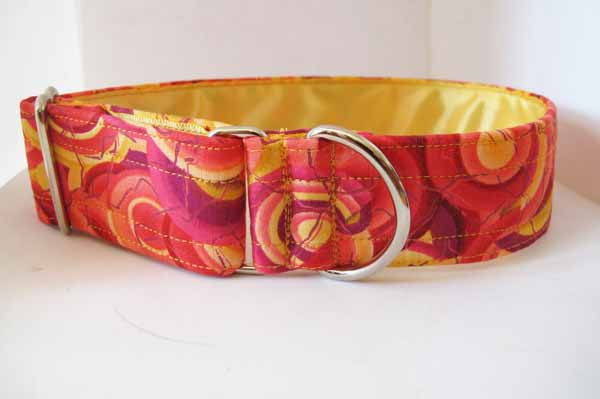 Yellow Satin Lined Raspberry Cotton House Collar