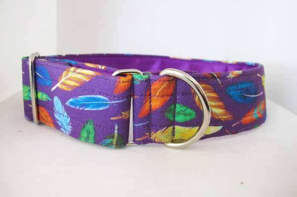 Purple Satin Lined Purple Feathers Cotton House Collar